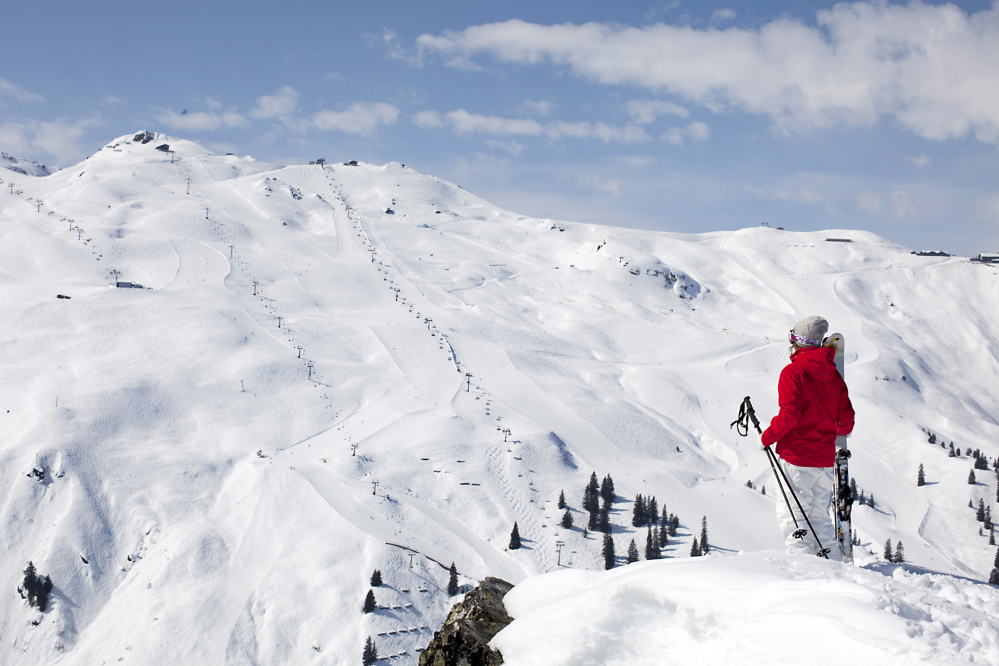 Aussicht auf das Skigebiet Silvretta Montafon